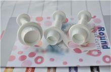 Free Shipping 3pcs /set Round Shape Sugar Rcraft Cake Decorating Fondant Lcing Plunger Cutters Tools(China (Mainland))