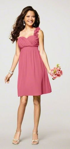 pink one shouldered dress