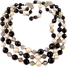 50% off during Red Tag Sale, ends 11/29 at 8am PST!  Schiaparelli Triple Strand Black and White Bead Necklace