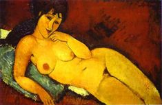 Nude on a Blue Cushion, Oil by Amedeo Modigliani (1884-1920, Italy)