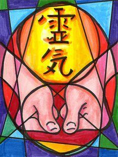 11x14 Reiki Healing Symbol with Massage Hands Art by KeyToReiki