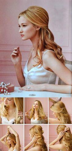 Up Do hair tutorial old Hollywood glamour