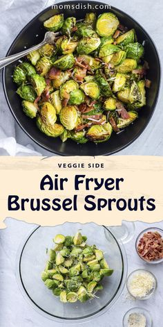 Air fryer brussel sprouts make for a delicious side for any dinner recipe. These brussel sprouts are made with bacon and taste divine, they pair well with any dinner recipe. This recipe is crispy and delicious, one that you will adore. #airfryerrecipes #airfryerbrusselsprouts #brusselsprouts #airfryerveggies #easyside #easysidedish #sidedish Side Dishes Easy, Air Fryer Recipes, Sprouts, Dinner Recipes, Easy Meals, Veggies, Healthy Eating, Cooking, Eating Healthy