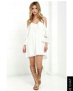 Off shoulder anything is trendy now but more a dress for spring, lace up gladiator sandals! Outfit you should have this season!