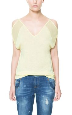 Image 1 of CHIFFON SLEEVE T-SHIRT WITH CUT-OUT SHOULDERS from Zara