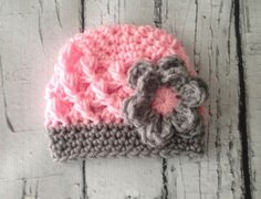 Baby Girl Crochet Beanie, pink and grey hat for girls, newborn photography prop, crochet hat beanie