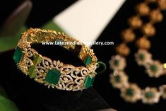 Gorgeous designer diamond single bangle in broad frame decked with square shaped emeralds. Accentuate your attire be it ethnic or contemporary with this broad diamond bangle to add the sparkle. Gold Bangles Design, Gold Earrings Designs, Bracelet Designs, Jewelry Design, Gold Designs, Bridal Bangles, Diamond Bangle, Emerald Bracelet, Diamond Choker