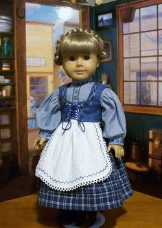 4pc. Dirndl ensemble w/separate vest in Blues for Kirsten by KeepersDollyDuds