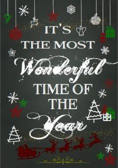 Christmas Chalkboards- It's the most wonderful time of the year Rainbow Magic, Christmas Chalkboard, Santas Workshop, Chalkboards, Time Of The Year, Wonderful Time, Big Day, Christmas Stockings, Gifts