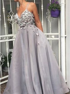 Elegant V neck Tulle Straps Long Prom Dress, Evening Party Gowns T894 by sweetdressy, $143.10 USD Grey Prom Dress, Tulle Prom Dress, Cheap Prom Dresses, Prom Party Dresses, Homecoming Dresses, Lace Dress, Short Dresses, Formal Dresses, Evening Party Gowns