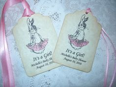 Baby Shower Tag / Party Favor Tag / Baby Shower Gift Tag / Personalized Tag - set of 20 - Peter Rabbit - Paper Party Supplies / It's a Girl