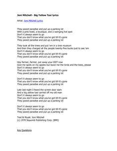 big yellow taxi lyrics pdf