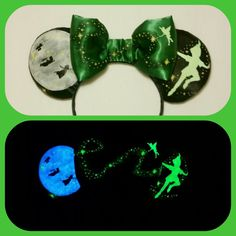 DIY your photo charms, compatible with Pandora bracelets. Make your gifts special. Make your life special! Glow in the Dark Peter Pan Mouse Ears Mickey Ears by Earsboutique Disney Diy, Diy Disney Ears, Disney Mickey Ears, Disney Crafts, Cute Disney, Disney Stuff, Disney Magic, Tinkerbell Disney, Disney Bows