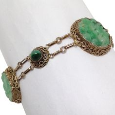 Carved Jade And Gilt Silver Bracelet Circa 1920's from Antiques of River Oaks on Ruby Lane $695 - Questions Call: 713-961-3333
