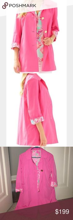 Lilly Pulitzer Pink Palm Beach Jacket This is a Lilly Pulitzer palm beach jacket in pink. This jacket is ADORABLE! It is a bright pink with a beautiful pattern peaking out from the inside. This jacket is in perfect condition with the exception of one small flaw that is hardly noticeable. I did want to point it out though so please see the last picture! This jacket is the perfect piece to complete any outfit! Lilly Pulitzer Jackets & Coats