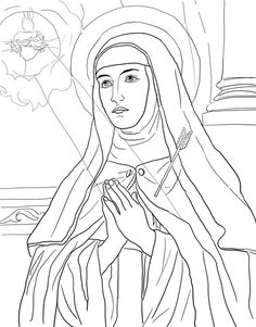 Teresa of Avila coloring page from Saints category. Select from 24104 printable crafts of cartoons, nature, animals, Bible and many more. Cat Coloring Page, Colouring Pages, Printable Coloring Pages, Adult Coloring Pages, Coloring Pages For Kids, Coloring Books, Catholic Crafts, Catholic Kids, Catholic Saints