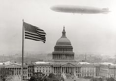 """""""Graf Zeppelin over Capitol."""" The German airship on its visit to Washington in October 1928. National Photo Co. Collection glass negative"""