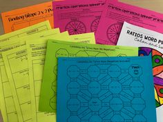 Free low prep math activities- just print and go. Topics include: Solving equations, ratio word problems, fraction operations, combining like terms, slope and exponents Free Math Worksheets, Math Resources, Math Activities, Operations With Fractions, Combining Like Terms, Solving Equations, 7th Grade Math, Math Notebooks, Elementary Math