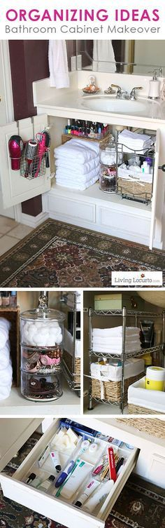 """Great Organizing Ideas for your Bathroom! Cabinet Bathroom Organization Makeover - Before and After photos. <a href=""""http://LivingLocurto.com"""" rel=""""nofollow"""" target=""""_blank"""">LivingLocurto.com</a>"""