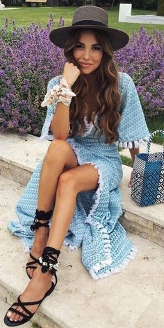 #summer #boho #chic #style | Tassel Trim Blue Knit Dress