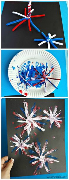 Pipe Cleaner Fireworks Craft for Kids - Great 4th of July craft #memorialday