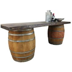 Rustic Plank with Wine Barrels - 8 or 12 foot rustic plank with wine barrels perfect as a bar or table - Price: 85.00/105.00