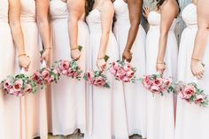 Bridesmaids, @Bill Levkoff Petal Pink, Photo Credit @Jason + Anna Ball, Romantic Antike Garen Roses, Flowers by @Gabriela Calé
