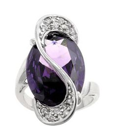 Kate Bissett Silvertone Oversized Purple CZ Cocktail Ring | Overstock.com Shopping - The Best Deals on Cubic Zirconia Rings