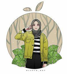 Girly Drawings, Cartoon Drawings, Cool Drawings, Cartoon Art, Islamic Posters, Islamic Art, Hijab Drawing, Islamic Cartoon, Anime Muslim