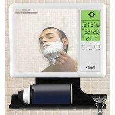 """Fog Free Shower Mirror and Weather Station by Gifts and Gadgets Online. $57.50. Compact Wireless Sensor. Built in Weather Display. 7"""" X 7"""" Fog Free Mirror. Holds 2 Razors and Shaving Cream. This fog-free shower mirror not only provides a fog-free shave, it displays date and time while providing multi-channel access to the current indoor/outdoor temperatures, outdoor humidity and a weather forecast based on barometric pressure."""