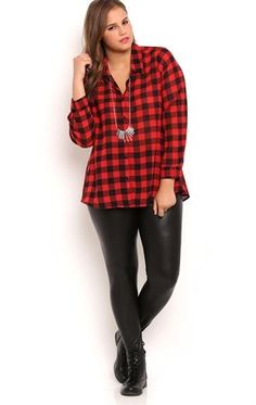 Flannel and leather leggings. Add some black booties or combat boots and it's perfect.