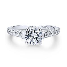 Matilda 14k White Gold Round Straight Engagement Ring angle 1