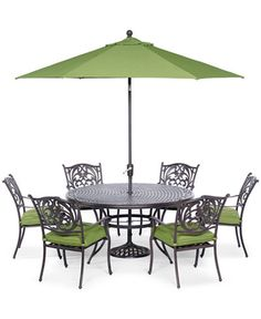 Chateau Outdoor Cast Aluminum Pc Dining Set Round Dining - 7 piece outdoor dining set round table
