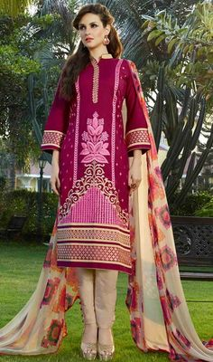 You will be confident to make a effective fashion statement with this pink color cotton embroidered pant style dress. Beautified with lace and resham work. #cottondresses #cottonsalwarsuits #printedcottondress