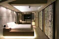 9 Bedrooms With Beds That Feature Hidden Lighting // The super bright lights under the bed make it look like it's sitting on a cloud of light. Contemporary Bedroom, Modern Bedroom, Minimal Bedroom, Futuristic Bed, Industrial Bedroom Design, Industrial Loft, Home Theaters, Hidden Lighting, Bedroom Design Inspiration