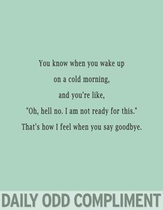 "Daily Odd Compliment: You know when you wake up on a cold morning, and you're like, ""Oh, hell no. I am not ready for this."" That's how I feel when you say goodbye Look At You, Just For You, Me Quotes, Funny Quotes, Qoutes, Star Quotes, Romance Quotes, Friend Quotes, Romance Novels"