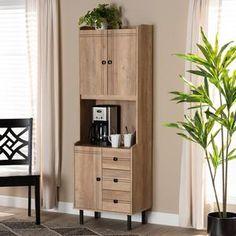 Kitchen Pantry Storage, Cupboard Storage, Kitchen Cart, Bookcase With Drawers, Freestanding Kitchen, Deep Shelves, Baxton Studio, Single Doors