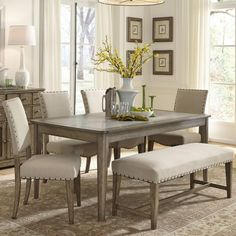 weatherford rustic casual 6 piece dining table and chairs set with bench liberty furniture at johnny janosik Bench Table And Chairs, Dining Set With Bench, Kitchen Table Bench, Dining Room Bench, Dining Table Legs, Dining Table In Kitchen, Dining Room Sets, Dining Room Design, Dining Furniture