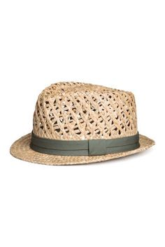 Hat in braided straw with a woven fabric band. Natural Man, H&m Online, Woven Fabric, Kids Fashion, Spring Fashion, Fashion Online, Good Things, Hats, Man Style