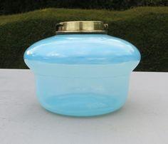 Vintage Sky Blue Glass Oil Lamp Drop in Font / Fount / Reservoir #Lamps