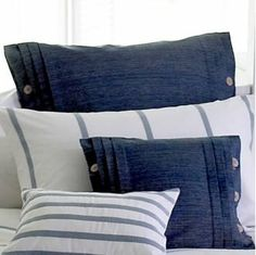 Navy Blue and White Stripe  Coastal Cushion Cover - http://www.marquisanddawe.co.uk/bedding-c1/bed-throws-c54/large-zennor-navy-blue-and-white-stripe-cushion-cover-p895