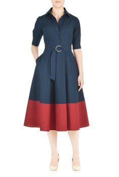 A vibrant color-blocked hem adds graphic polish to our classic point-collar shirtdress cinched softly with a two-ring tie belt and tailored to fit-and-flare from the waist. Changed to long sleeves and ankle length. Simple Dresses, Plus Size Dresses, Elegant Dresses, Cute Dresses, Vintage Dresses, Casual Dresses, Dresses Dresses, Cotton Dresses, Modest Fashion