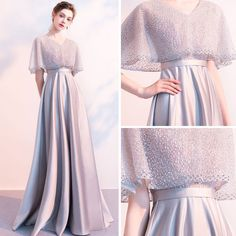 Stunning Grey Evening Dresses With Shawl 2018 Empire V-Neck Beading Floor-Length. - Stunning Grey Evening Dresses With Shawl 2018 Empire V-Neck Beading Floor-Length / Long Ruffle Backless Formal Dresses Source by mollycervera Grey Evening Dresses, Grey Prom Dress, Elegant Dresses, Evening Gowns, Dress Brokat, Kebaya Dress, Bridesmaid Dresses, Prom Dresses, Formal Dresses