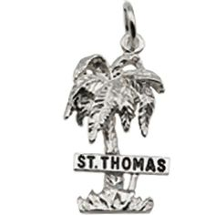 St Thomas Palm WSign Charm In Sterling Silver Charms for Bracelets and Necklaces *** To view further for this item, visit the image link.(This is an Amazon affiliate link)