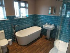 Vickie from Scarborough #VPShareYourStyle these blue tiles look great in this industrial styled bathroom.