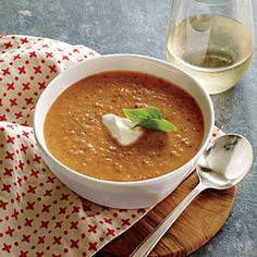Tangy Tomato Basil Soup | CookingLight.com #myplate #fruit #dairy