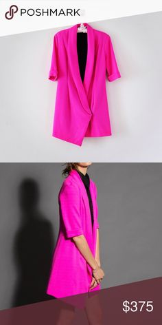 Fuchsia Asymmetrical Jacket Dress PRODUCT DESCRIPTION: Fuchsia wool asymmetrical double-breasted jacket dress.  DETAILS: • Low-notch lapel • Fully lined  • Button closure • 3/4 length rolled sleeves    CARE INSTRUCTIONS: • Dry clean  • Made in the United States  SEASON: • Spring 15   🚫 NO TRADE/LOWBALL OFFERS🚫 e l e n a b o b y s h e v a  Jackets & Coats Trench Coats