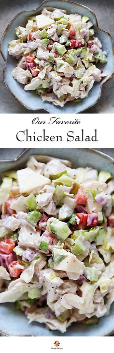 Chicken Salad ~ Delicious chicken salad with chopped cooked chicken, celery, bell pepper, green olives, apple, iceberg lettuce and mayonnaise. #MemorialDay ~ SimplyRecipes.com