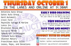 Join us in the lanes and online this Thursday, October 1 at 9:30am with Antonino Auto Group, Gates Auto Group, Hurd Automall, Crest Ford, Reynolds Garage & Marine, Lance Inc., Brustolon Buick GMC, Saccucci Honda, Speedcraft Volkswagen, Troiano Auto Group, Shannon Motors, Frenchtown Auto Sales, Lease, Repo, Donations and more!