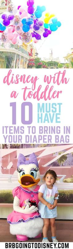 Are you planning a Disney World vacation with a toddler? Check out these must pack for Disney items to have in your diaper bag. Disney World | Disney World Tips | Disney Tips | Disney with a Baby | Disney with a Toddler | Disney Packing List | What to pack for Disney | Disney Diaper Bag #waltdisneyworld #disneyworld #disneywithatoddler #disneytips #disneyworldtips